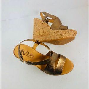 Korkys Kork-ease bronze metallic wedge sandals 6